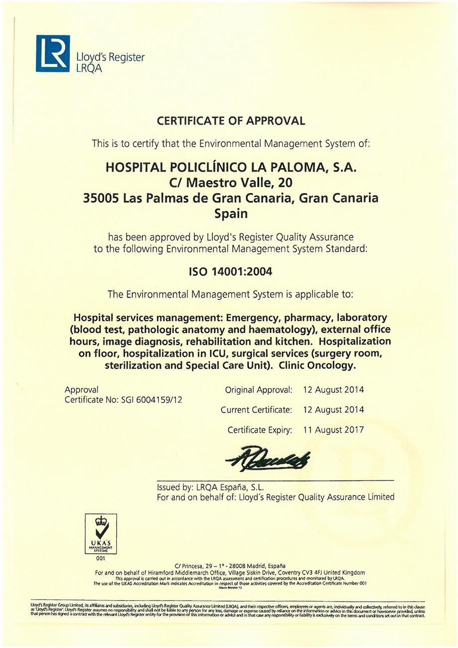 Certificaciones ISO del Hospital La Paloma en Las Palmas